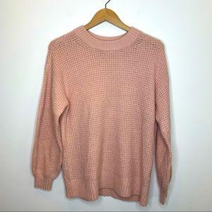 American Eagle Waffle Knit Oversized Sweater Pink